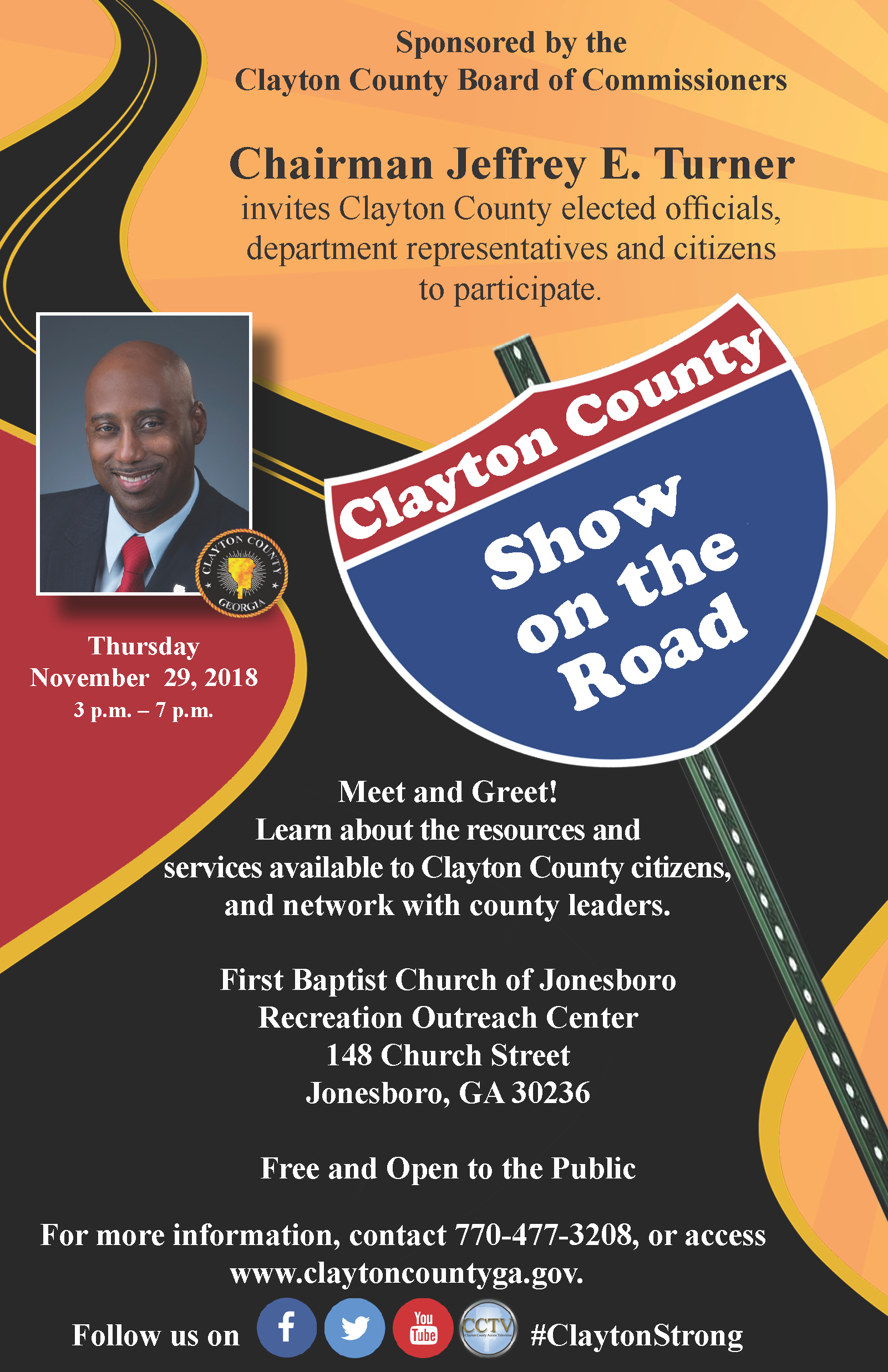 Interested in learning about resources and services available to Clayton County citizens while networking with county leaders? Here's your chance! Mark your calendars for the Show on the Road event Nov. 29th 3p.m.-7p.m. Okay everyone, let's get this Show on the Road! #ClaytonStrong